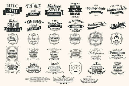 Collection of vintage retro labels, badges, stamps, ribbons, marks and typographic design elements Illustration