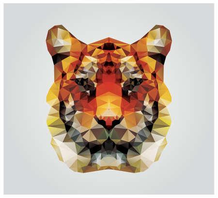 yellow tigers: Geometric polygon tiger head, triangle pattern design