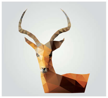 polygonal: Geometric polygon antelope, triangle pattern design Illustration