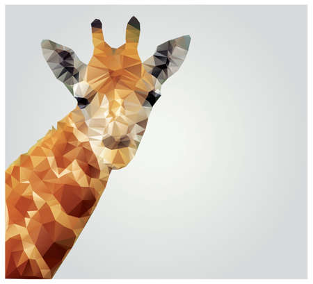 Geometric polygonal giraffe, triangle pattern design