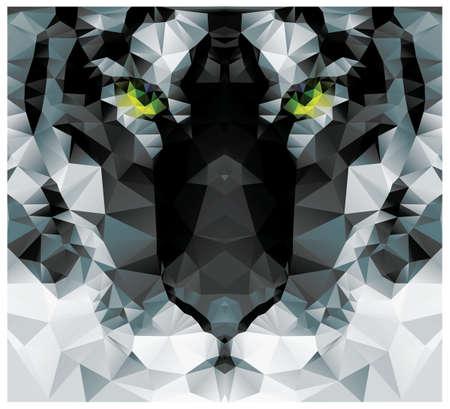 tiger white: Poligono geometrica testa di tigre bianca, design pattern triangolare