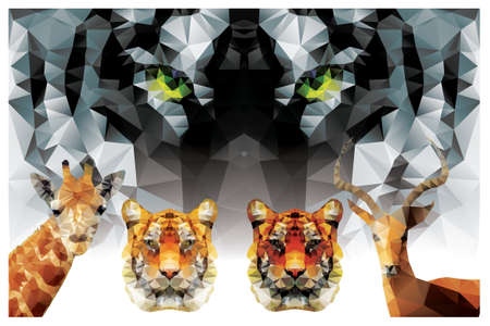 Collection of geometric polygon animals, tiger, giraffe, antelope, triangle pattern design Vector