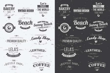 Collectie van vintage retro insignes, badges, postzegels, linten en typografisch ontwerp elementen, vector illustratie