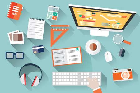 フラットなデザイン オブジェクト、ワークデスク、長い影、オフィス デスク、コンピューター、文房具