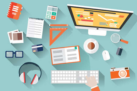 Flat design objects, workdesk, long shadow, office desk, computer and stationery