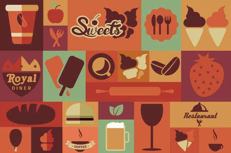 pan y vino: Colección de iconos de alimentos retro vendimia planos, diseño plano, ilustración vectorial