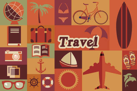 suite: Collection of flat vintage retro travel icons, flat design, vector illustration