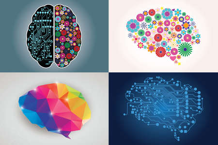 Collections of four different human brains, left and right side, creativity and logic, illustration