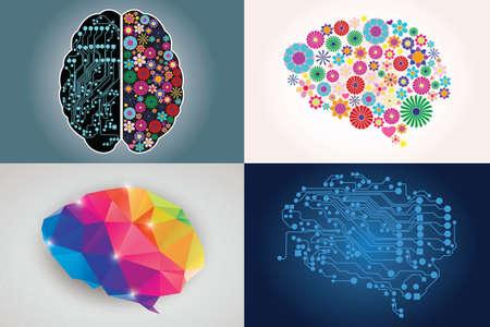 Collecties van vier verschillende menselijke hersenen, links en rechts, creativiteit en logica, illustratie