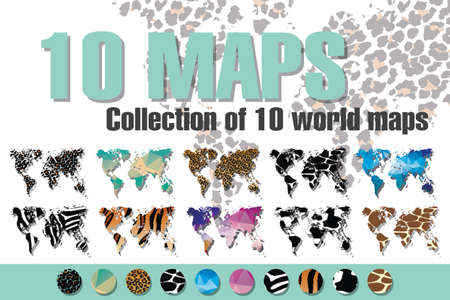 Collection of 10 world maps in different designs, animal prints and geometric designs, patterns and triangles, vector illustration Vector