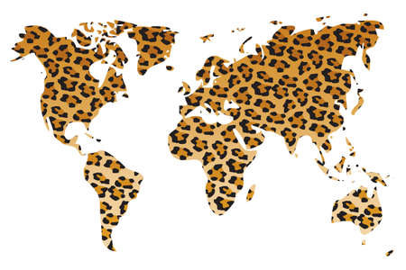World map in animal print design, leopard, vector illustration Vector