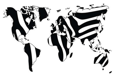 World map in animal print design, black and white, zebra, vector illustration Vector