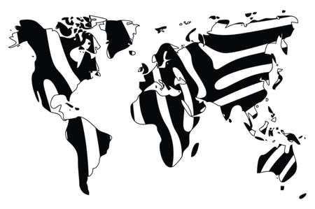sea cow: World map in animal print design, black and white, zebra, vector illustration Illustration