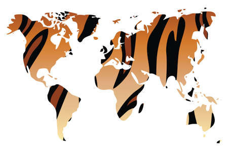 World map in animal print design, tiger, vector illustration Vector