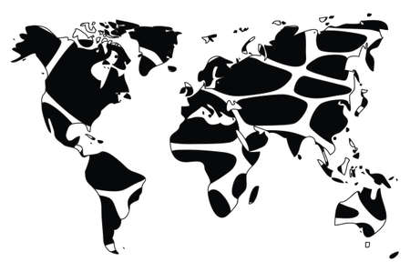 World map in animal print design, black and white, vector illustration Vector