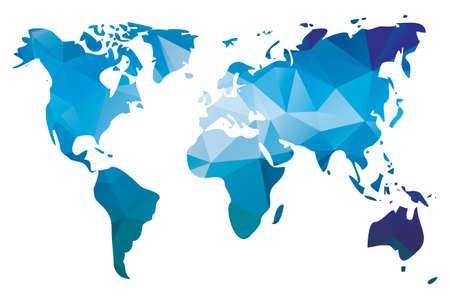 Wereldkaart in geometrische driehoek patroon, vector illustratie Stock Illustratie