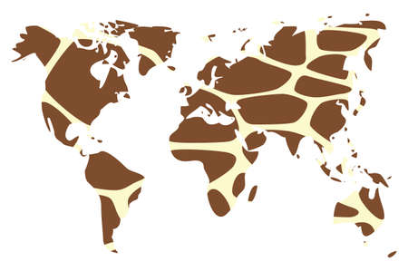 World map in animal print design, giraffe, vector illustration Vector