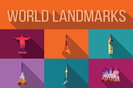 World landmarks, famous buildings, Europe, America, Asia, vector illustration Vector