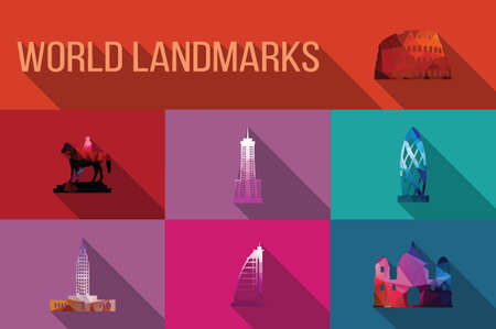 World landmarks, famous buildings, Europe, America, Asia, vector illustration Vector