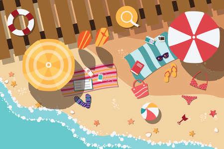 maillot de bain: plage d'été en design plat, côté mer et articles de plage, illustration