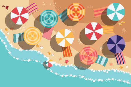 Summer beach in flat design, aerial view, sea side and umbrellas, vector illustration Stock Illustratie