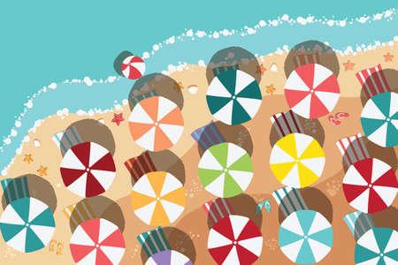 Zomer strand in platte ontwerp, luchtfoto, zeezijde en kleurrijke paraplu's, vector illustratie Stock Illustratie
