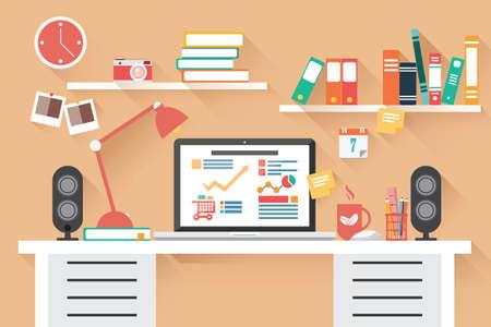 papeles oficina: Escritorio de oficina del hogar - dise�o plano Vectores