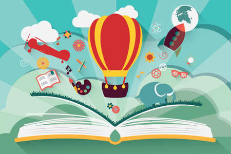 kids reading: Imagination concept - open book with air balloon, rocket and airplane flying out