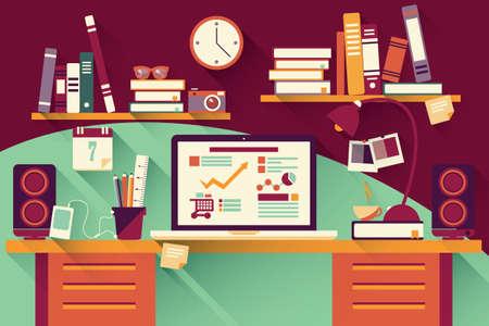 Bureau van het Huis - platte ontwerp, lange schaduw, een bureau, computer en briefpapier