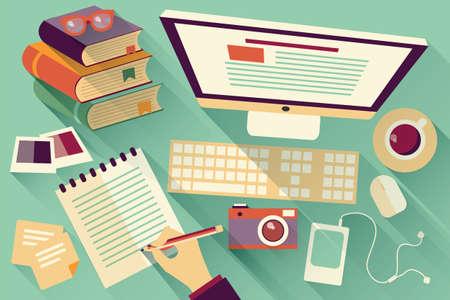 フラットなデザイン オブジェクト、仕事机、長い影、オフィス デスク、コンピューター、文房具  イラスト・ベクター素材