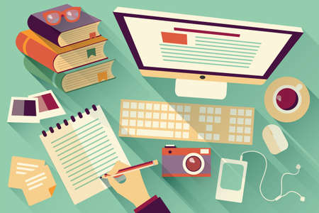 Flat design objects, work desk, long shadow, office desk, computer and stationery Illusztráció