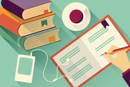 책과 커피의 스택과 함께 노트북 배경으로 쓰기