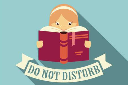 reading books: Girl reading a book, do not disturb sign, imagination and education concept, vector