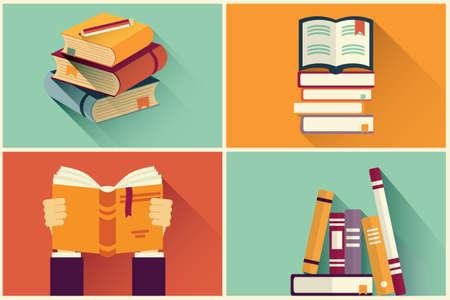 estudiando: Conjunto de libros en dise�o plano, ilustraci�n vectorial