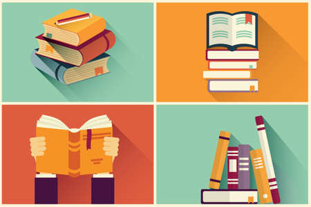 library book: Set of books in flat design, vector illustration