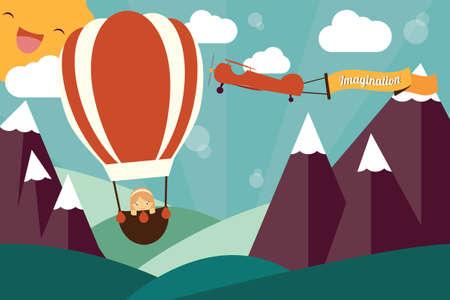 想像力の概念 - 気球の女の子, 想像力の旗の飛行を持つ飛行機