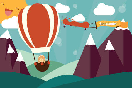 Imagination concept - girl in air balloon, airplane with imagination banner flying Vector