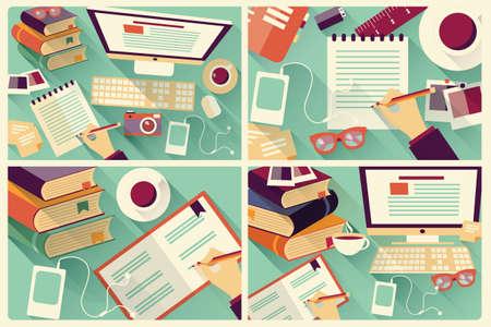 네 개의 평면 작업 책상, 긴 그림자, 사무실 책상, 컴퓨터 및 문구, 벡터 일러스트 레이 션의 컬렉션