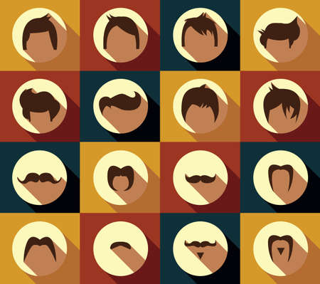fake mustaches: Collection of hipster retro hair styles and mustaches, vector illustration