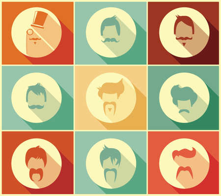 mustaches: Collection of hipster retro hair styles and mustaches, vector illustration