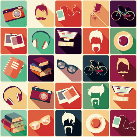 stylish boy: Collection of retro hipster elements, hairstyles and items, vector illustration Illustration