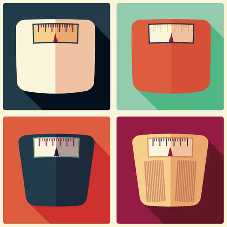 analog weight scale: Collection of four bathroom weight scales, flat design, vector illustration