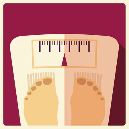 weight scales: Bathroom weight scales with feet, flat design, vector illustration Illustration