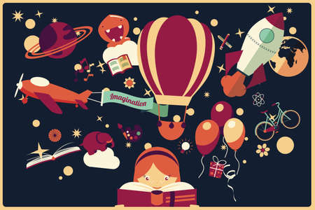 of children: Imagination concept - girl reading a book with air balloon, rocket and airplane flying out, night sky, vector illustration