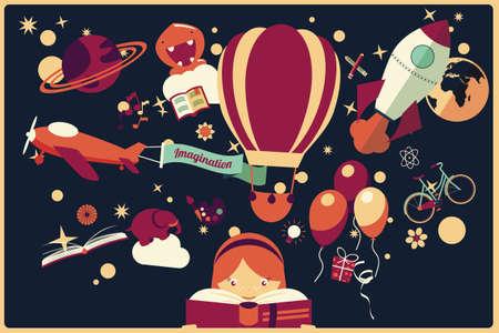 Wyobraźnia koncepcja - dziewczyna czyta książkę z balonem, rakiety i samolot pływających pod uwagę, nocne niebo, ilustracji wektorowych