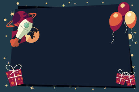 Banners with balloons, presents, rocket ship and planets, vector illustration