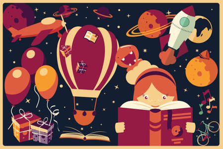Background with imagination items and a girl reading a book, balloons, rocket ship, space, planets illustration