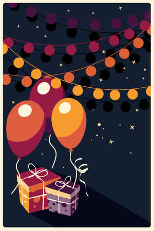birthday presents: Birthday background with presents and balloons, vector illustration Illustration