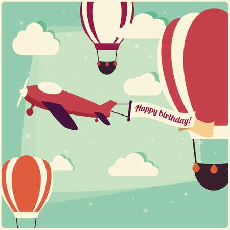 Verjaardag achtergrond hete lucht ballonnen en een vliegtuig, vectorillustratie Stock Illustratie