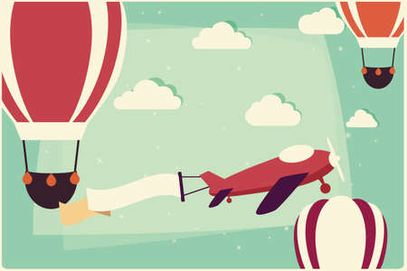 Background with hot air balloons and airplane with ribbon, vector illustration